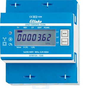 RS485 bus wireless three-phase energy meter with display, MID approval DSZ14WDRS-3x5A
