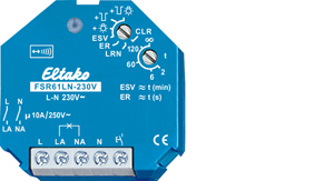 Wireless actuator impulse switch with integrated relay function FSR61LN-230V for bipolar switching of L and N
