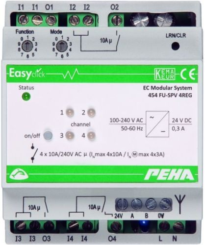EnOcean Easyclickpro module Switching with power supply, 4-channel, 4 HP