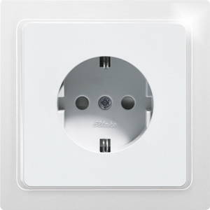 DSS with socket outlet front DSS65-wg, pure white glossy