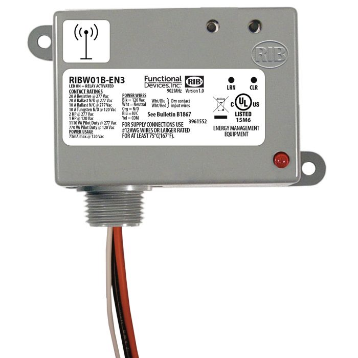 Wireless Relay Transceiver / Repeater: 20 Amp, 120 Vac – RIBW01B-EN3