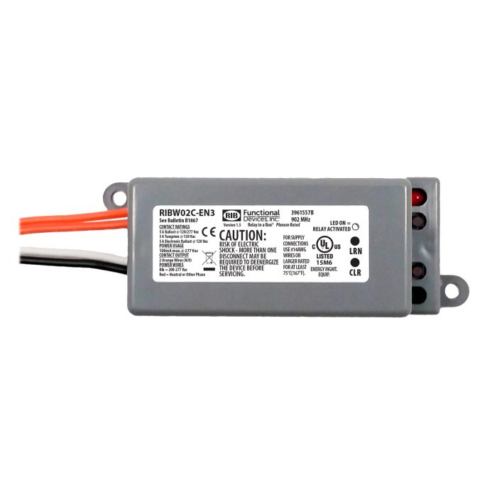 Wireless Relay Receiver / Repeater: 5 Amp, 208-277 Vac – RIBW02C-EN3