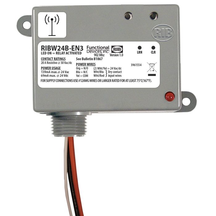 Wireless Relay Transceiver / Repeater: 20 Amp, 24 Vac/dc – RIBW24B-EN3