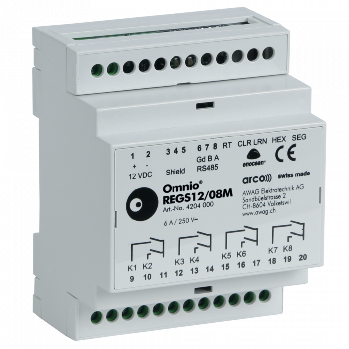 Omnio DIN rail mounted switching actuator 8-channels REGS12/08