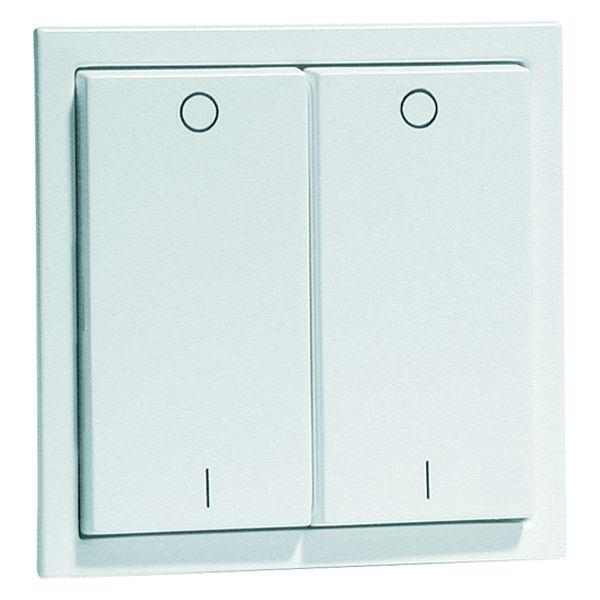EnOcean Easyclick wall transmitter, NOVA, 4-channel, aluminium enamelled high-gloss, printed I/O