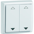 EnOcean Easyclick universal wall transmitter 61 x 61, 4-channels, pure white high-gloss, printed UP/DOWN