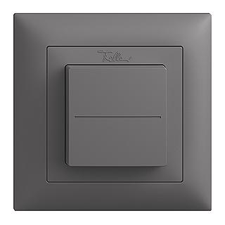 Feller EDIZIOdue EnOcean wireless pushbutton, single rocker dark grey