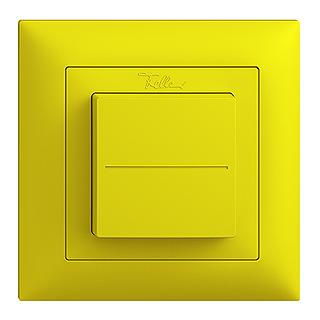 Feller EDIZIOdue EnOcean wireless pushbutton, single rocker lemon