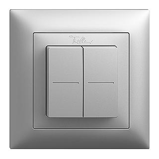 Feller EDIZIOdue EnOcean wireless pushbutton, double rocker silver