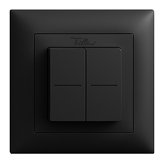 Feller EDIZIOdue EnOcean wireless pushbutton, double rocker black