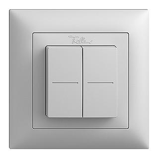 Feller EDIZIOdue EnOcean wireless pushbutton, double lightgrey