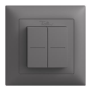 Feller EDIZIOdue EnOcean wireless pushbutton, double rocker darkgrey