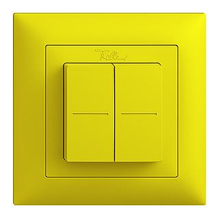 Feller EDIZIOdue EnOcean wireless pushbutton, double rocker lemon