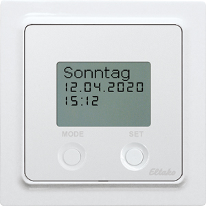 Wireless timer FSU55D/12-24V UC-wg with display, pure white glossy