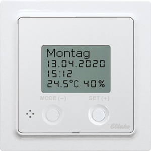 Wireless thermo clock/hygrostat FUTH55D/12-24V UC-wg with display, pure white glossy
