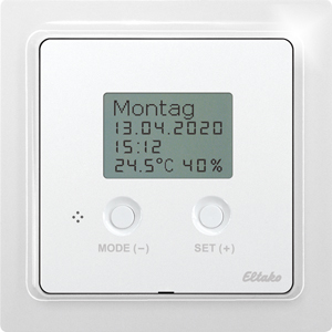 Wireless thermo clock/hygrostat FUTH65D/12-24V UC-wg with display, pure white glossy